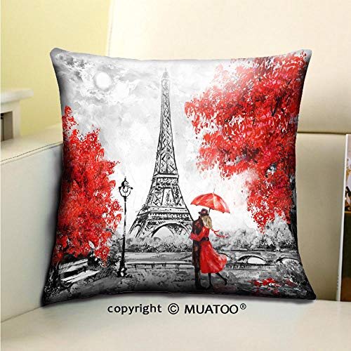 PleayeL Soft Canvas Throw Pillow Covers Cases for Couch Sofa -Oil Painting Paris European City Landscape France Wallpaper Eiffel Tower Black White and red Print 20x 20(50 x 50 cm) (Sofa Paris Le)