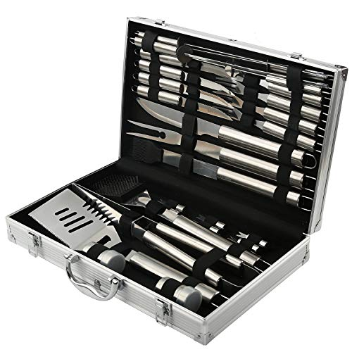 BBQ Grill Tools Set with 26 Barbecue Accessories - Stainless Steel Utensils with Aluminium Case - Complete Outdoor Grilling Kit