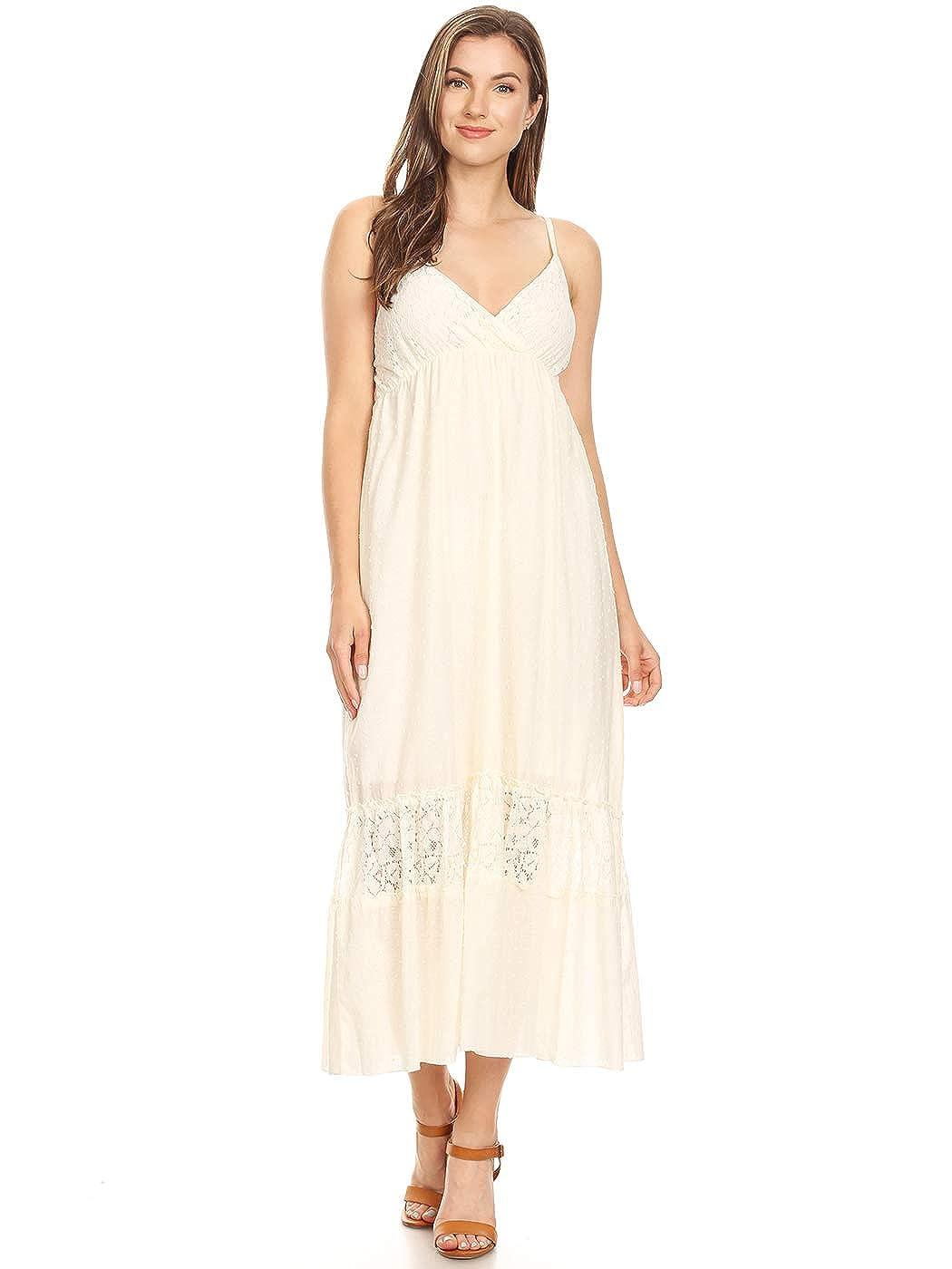 2e7da763961e6 Anna-Kaci Womens Adjustable Spaghetti Strap Sleeveless Long Lace Boho Dress