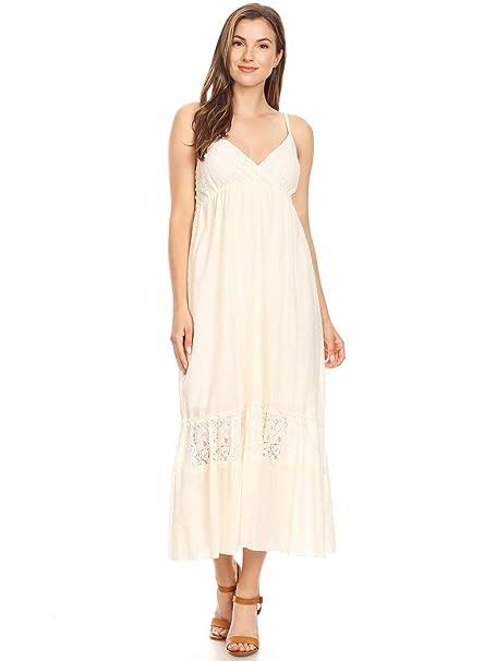 5a57b4d996247 Anna-Kaci Womens Adjustable Spaghetti Strap Sleeveless Long Lace Boho Dress