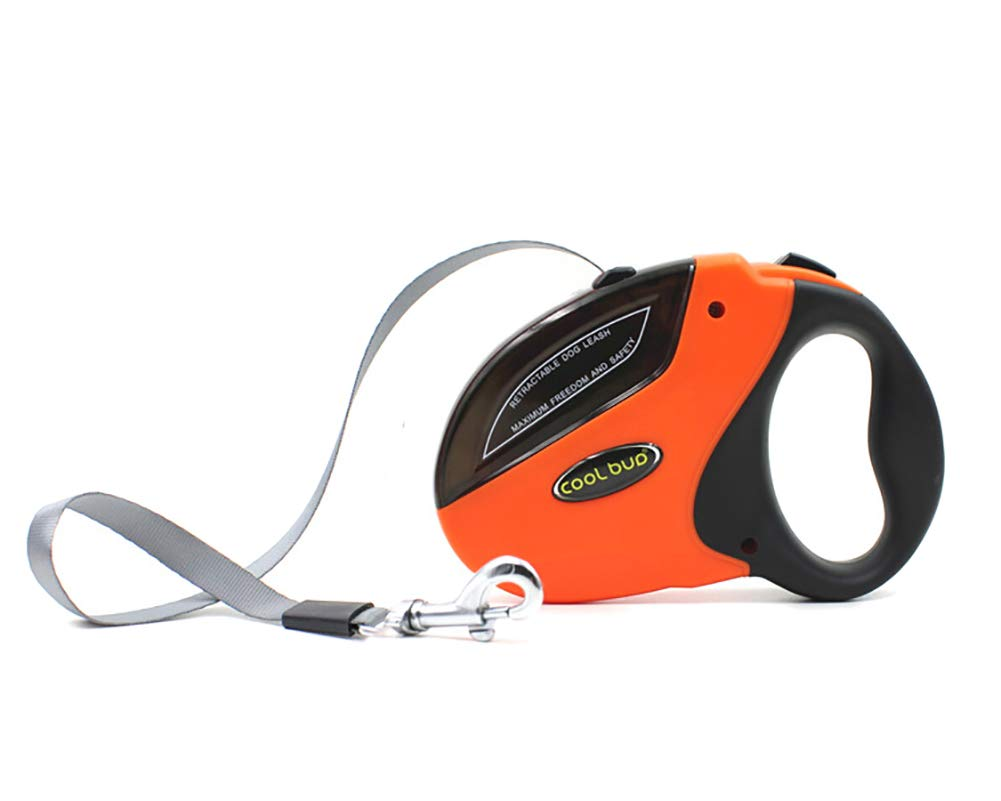 WXMJ Automatic Dog Leash Traction Durable Practical Telescopic Handle Comfortable Running Training Outdoor Non-Slip Portable Dog Rope-Orange