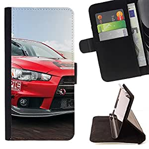 For HTC Desire 820 Lancer Evo Red Beautiful Print Wallet Leather Case Cover With Credit Card Slots And Stand Function