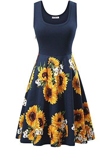 omen's Vintage Scoop Neck Sleeveless Floral Summer Midi Dress (Vintage Floral Summer Dress)