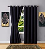 Warm Home Designs 1 Panel of Black Color Blackout Curtains with Grommets. Long Size Insulated Thermal Window Panel Is 54″ X 96″ in Length and Includes Matching Tie-Back. N Black 96 For Sale
