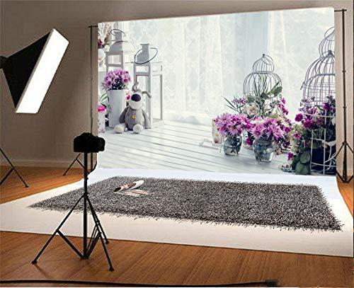 Leyiyi 5x3ft Photography Background Happy Valentine's Day Backdrop Wedding Ceremony Flora Room Interior Window Curtain Toy Doll Birdcage Flowerpot Lay Flat Marriage Photo Portrait Vinyl Studio Prop