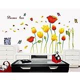 Oren Empower Tulip Flowers Wall Stickers (170 cm x 100 cm, Orange)