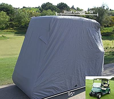 "Deluxe 2 Passenger Golf Cart Cover roof up to 58"" (Grey, Taupe, Green, or Black), Fits E Z GO, Club Car and Yamaha G mode, also fits Organic transit's ELF"