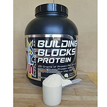 Supplement Rx – Building Blocks Protein Powder Creamy Vanilla 4lbs, Whey Protein Concentrate, Whey Protein Isolate, Egg Whites, Whey Peptides, Muscle Building, Gluten Free, BCAAs and Glutamine