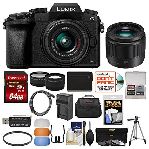 Panasonic Lumix DMC-G7 4K Wi-Fi Digital Camera & 14-42mm Lens (Black) with 25mm f/1.7 Lens + 64GB Card + Case + Battery & Charger + Tripod + Kit