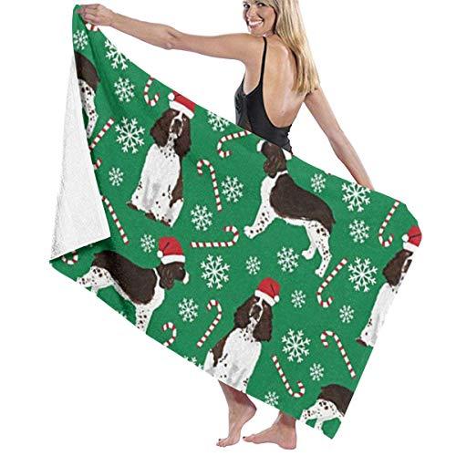 (workessehwe Microfiber Travel Towel,Camping Towel, Gym Towel, Sports Towel, Swimming Towel - Christmas English Springer Spaniel Santa Paws Print )