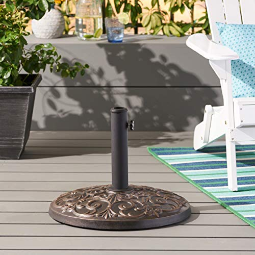 Christopher Knight Home Great Deal Furniture | Sade | Outdoor Concrete Circular Umbrella Base | 60LBS | in Hammered Dark Copper