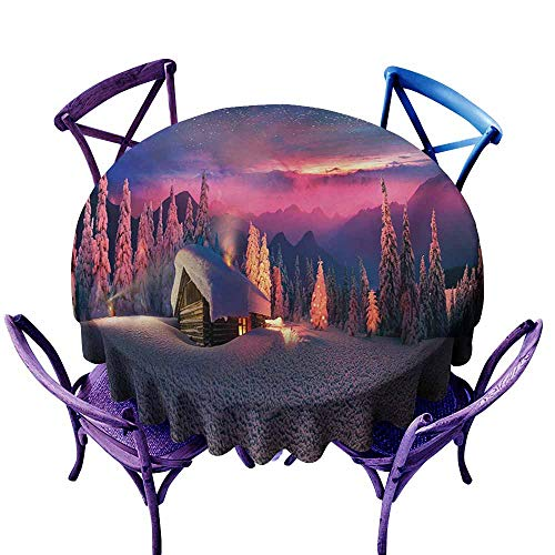 Anti-Fading Tablecloths,Milky Way Wild Alpine Scene with Cabin in The Woods Winter with Starry Skyline Illustration,Table Cover for Home Restaurant,55 INCH,Multicolor (The Cabin In The Woods Final Scene)