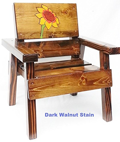 Childrens' Wood Chair with Arms, Folk Art Engraved Wood Sunflower Design, Indoor / Outdoor Furniture