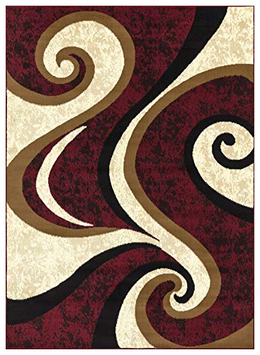 Burgundy Ivory Rug - Princess Collection Geometric Swirl Abstract Area Rug, 5' 2
