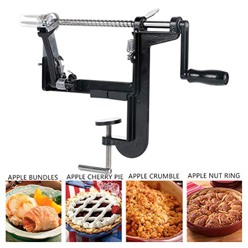 Apple peeler core slicer stainless spiral apple peeler durable multifunctional potato pear peelers and corers vacuum clamp suction base apple peeler machine(Black) (The Pampered Chef Apple Slicer)