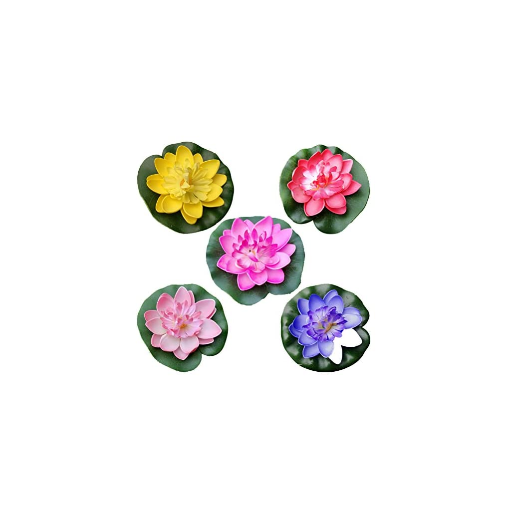 VORCOOL 5Pcs Artificial Floating Water Lily Lotus Flower Pond Decor 10cm (Red/Yellow/Blue/Pink/Light Pink)