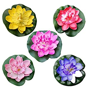 VORCOOL 5Pcs Artificial Floating Water Lily Lotus Flower Pond Decor 10cm (Red/Yellow/Blue/Pink/Light Pink) 115