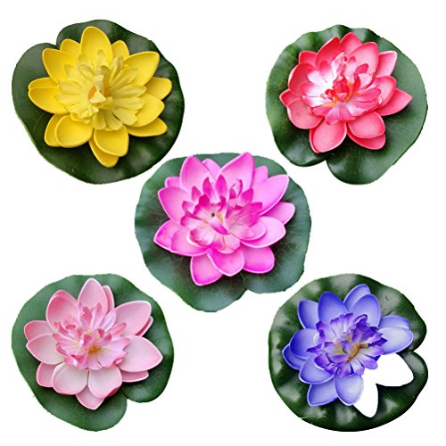 (VORCOOL 5Pcs Artificial Floating Water Lily Lotus Flower Pond Decor 10cm (Red/Yellow/Blue/Pink/Light Pink))