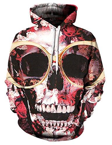 Hakjay Unisex 3D Digital Printing Long Sleeve Pullover Hoodie Hooded Sweatshirt-Glasses Skull-L