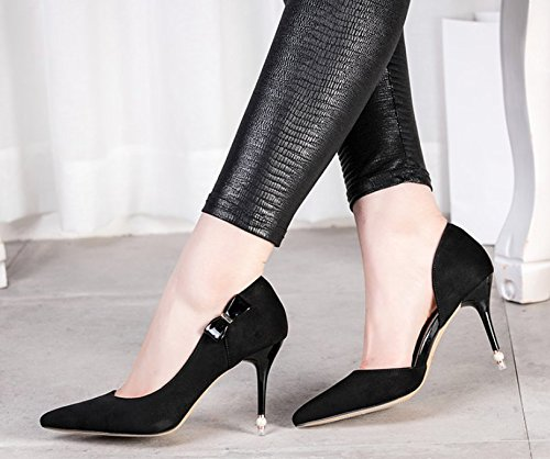 High Bow Work Spring 37 Heel 8Cm Shoes Pointed Shoes Women Shoes Heel Single Elegant Head MDRW Lady Fine Leisure Sanding Black wX1An7xWqf