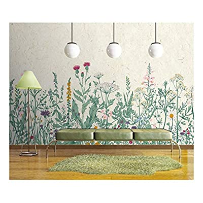 Delightful Picture, Large Wall Mural Retro Style Flowers and Plants with Vintage Wall Background Vinyl Wallpaper Removable Wall Decor, With Expert Quality