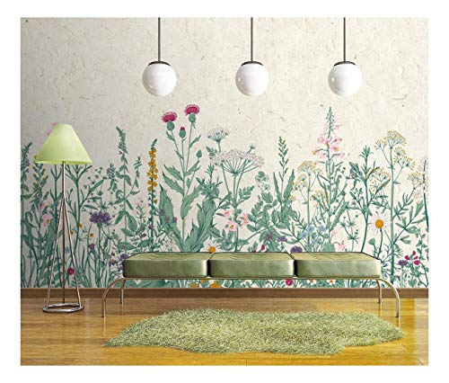 Large Wall Mural Retro Style Flowers and Plants with Vintage Wall Background Vinyl Wallpaper Removable Wall Decor