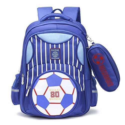 Mysticbags Boys Backpack Soccer Printed Kids School Bookbag for Primary Students Blue