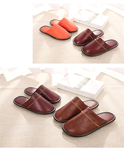 Anti Men Summer Women Leather Floor Cowhide W for Autumn Wooden Slippers Smelly Spring TELLW Rose Corium 5XOwqxYO7