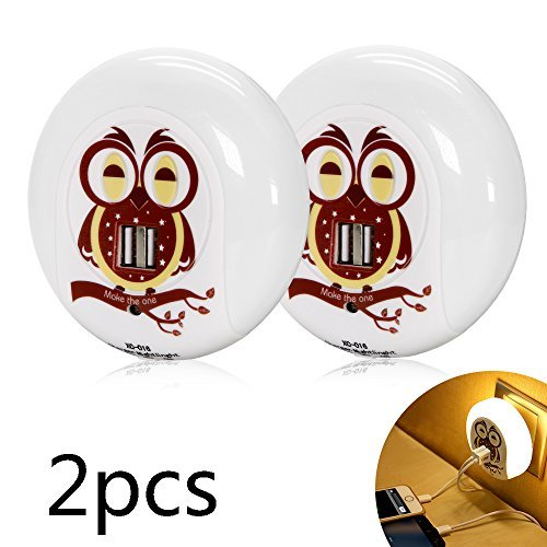 Plug in Night Lights, Cute Owl Dual USB Outlet LED Nightlight Dusk to Dawn Sensor Wall Lamp Charger Station Búho Decor Good Night Light for Kids Sleep Bedroom Living Room Office (2 Packs Warm White) by M MAKETHEONE