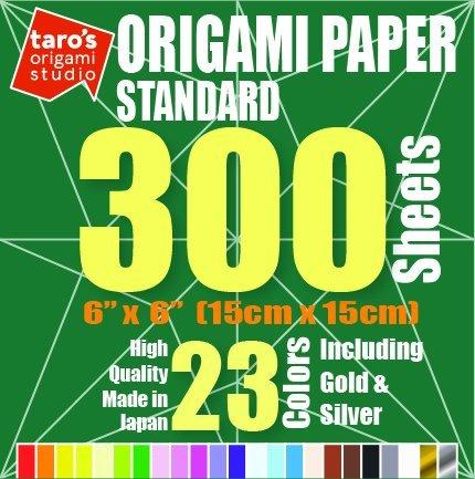 [Standard 300 Made in Japan] Taro's Origami Studio Premium Japanese Origami Paper (6 inch, 300 Sheets, Single Side 23 Colors Including Gold and Silver) (Fold Origami Bird)