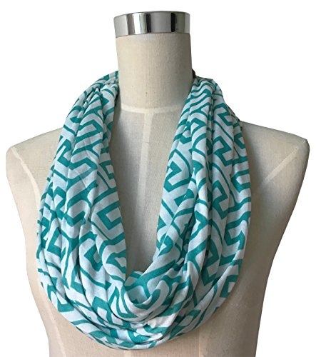 Women's Greek Key Pattern Infinity Scarf with Zipper Pocket - Teal - Pop Fashion