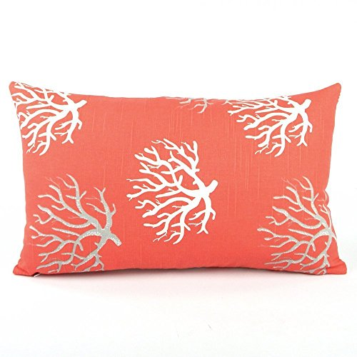 Wonders of the Sea Salmon Starfish / Coral Handmade Decorative Pillow Cover, 12x20
