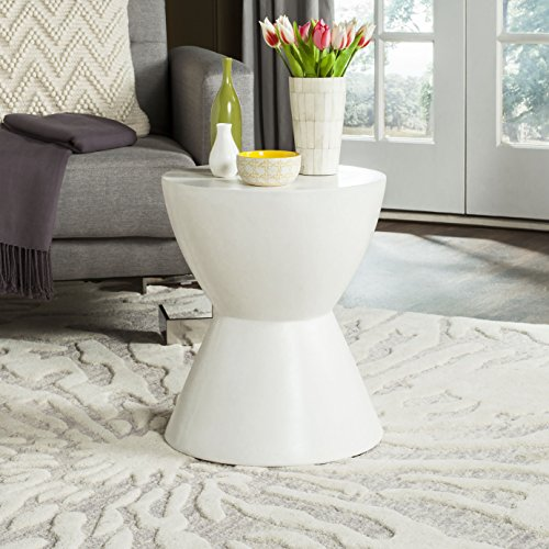 Safavieh Outdoor Collection Athena Modern Concrete Round 17.7-inch Accent Table Ivory by Safavieh (Image #1)