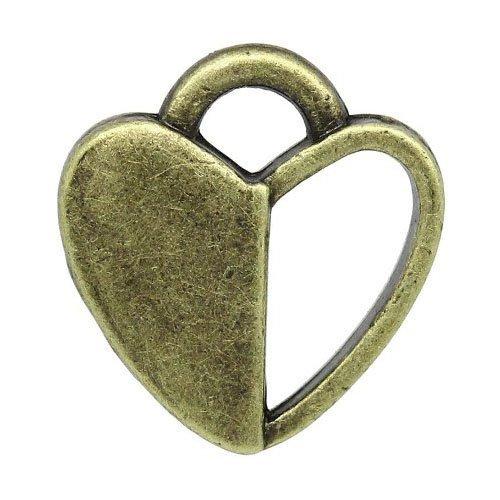 Paquet 10 x Steampunk Bronze Antique Tibétain 14mm Breloques Pendentif (Coeur) - (ZX13235) - Charming Beads