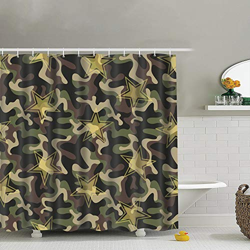 Robeot-Design Seamless Military Camouflage Transparent Stars Texture The Arts Camouflage Bathroom Curtains Colorful Funny with Standard Size 72 by 72 Inch