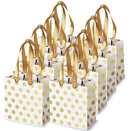 Small Gift Bags with Ribbon Handles: Gold Mini Gift Bag, for Birthday Weddings Christmas Holidays Graduation Baby Showers (Metallic Dots 8 Pack Bulk)