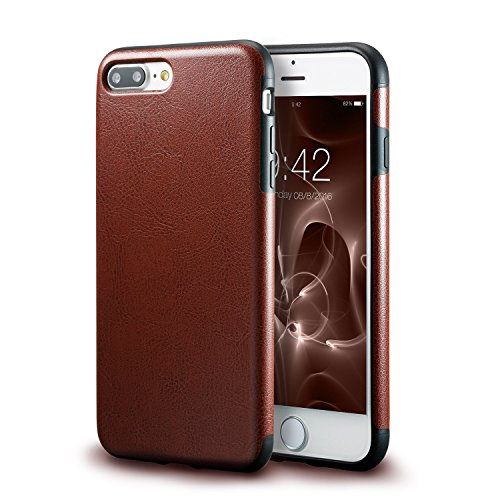 technext020 iPhone 7 Plus Brown Leather Case/iPhone 8 Plus Brown Leather Case, Ultra Slim Fit Artificial PU Synthetic Leather Case Shock Resistance Cover for iPhone 7 Plus/iPhone 8 Plus Brown