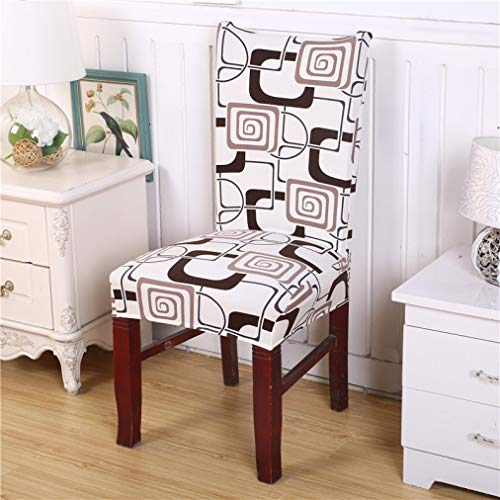 WEEFORT 1Pc Printed Chair Covers Spandex Grey Geometric Style Seat Covers for Dining Room Kitchen Hotel Elastic Slipcover