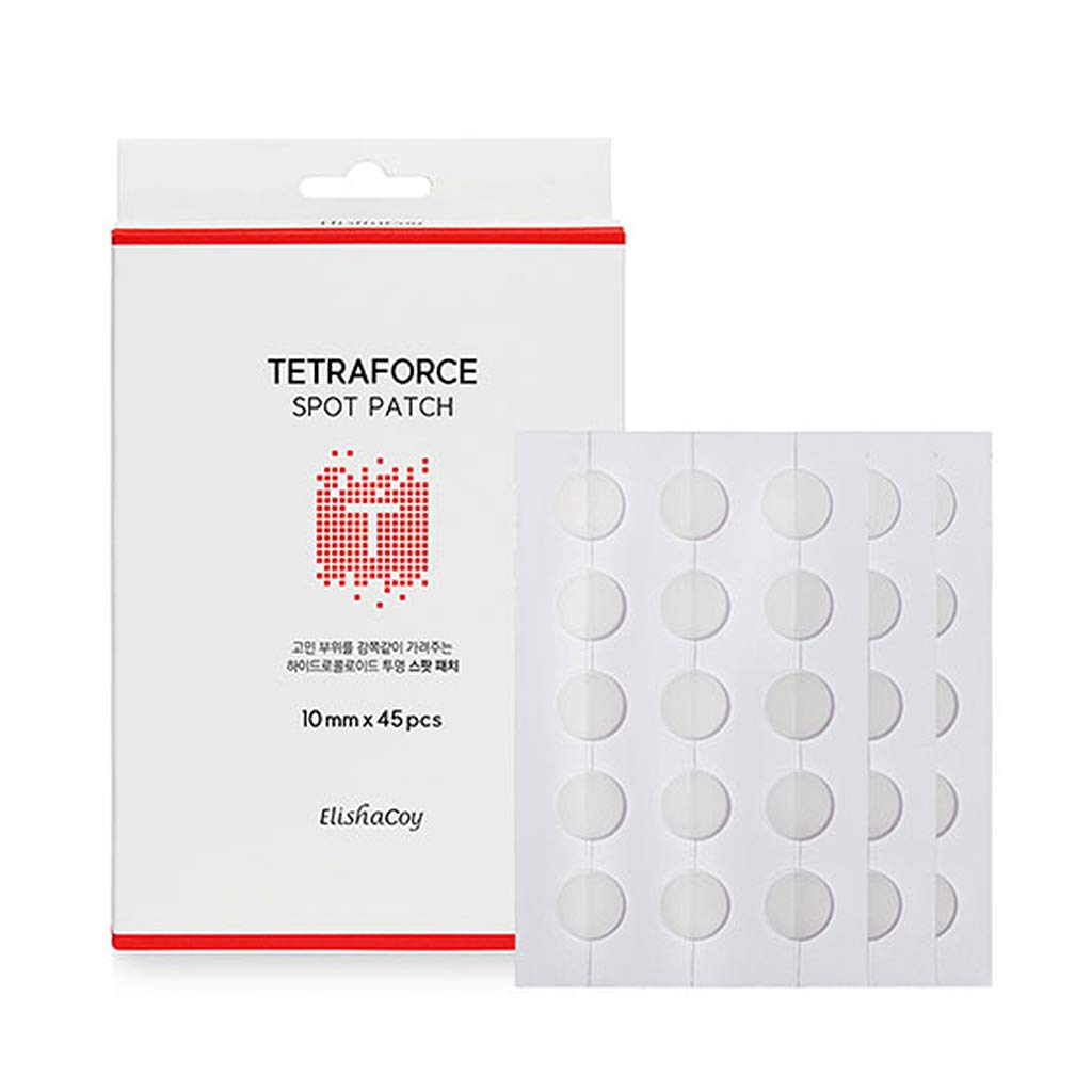 ELISHACOY TETRAFORCE Spot Patch 15pcs x 3 Films (Total 45 Count) - Highly Adhesive Hydrocolloid Trouble Patches, Tea Tree Leaf Oil Contained Sebum Control & Acne Calming Effect Pimple Stickers