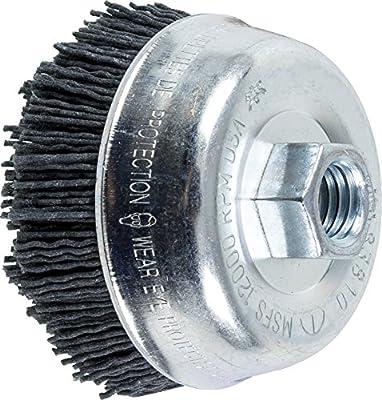 """PFERD 83810 M-Brad Abrasive Filament Cup Brush, Silicon Carbide Grain, 3-1/2"""" Diameter, 5/8-11 Thread, 0.040 Wire Size, 12000 RPM, 120 Grit"""