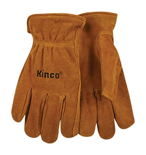 KINCO 50-M Men's Unlined Suede Cowhide Leather Drivers Gloves, Shirred Elastic Back, Medium, Golden