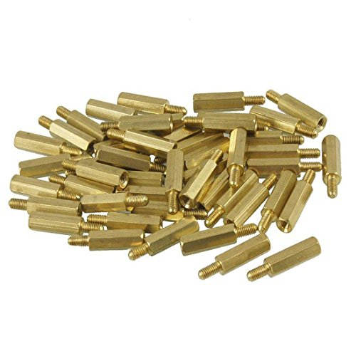 Karcy Brass M3 Male x M3 Female Hex Head PCB Standoffs Spacers Hardware Nut 15mm Body Length 50 Pcs (M3x15+6)