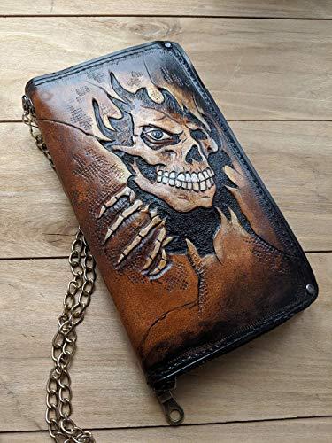 Custom wallet Genuine Leather wallet Skull Hand-Carved Viking wallet Men/'s 3D Money Clip Skeleton Biker wallet Hand-Painted Carving
