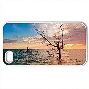 Sunset - Case Cover for iPhone 4 and 4s (Sunsets Series, Watercolor style, White) by icecream design
