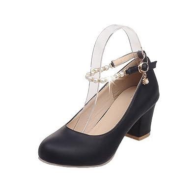 AgooLar Damen Schnalle Mittler Absatz PU Rein Pumps Schuhe