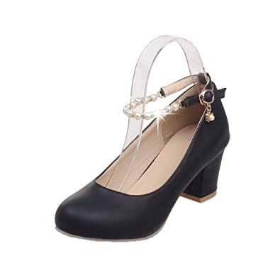 af46432afaeef3 AgooLar Damen PU Schnalle Schließen Zehe Mittler Absatz Rein Pumps Schuhe   Amazon.de  Schuhe   Handtaschen