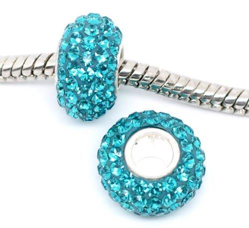 Sexy paillettes Femme Bleu Aqua Element Sterling Argenté Charm Perle européenne