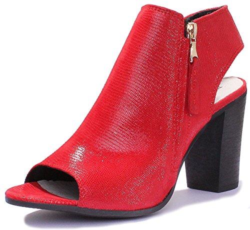 Schuhe Up Block GF1 Justin Lace Brogue Reece Leder Ferse Red Medium Damen wAq6ZfqWB