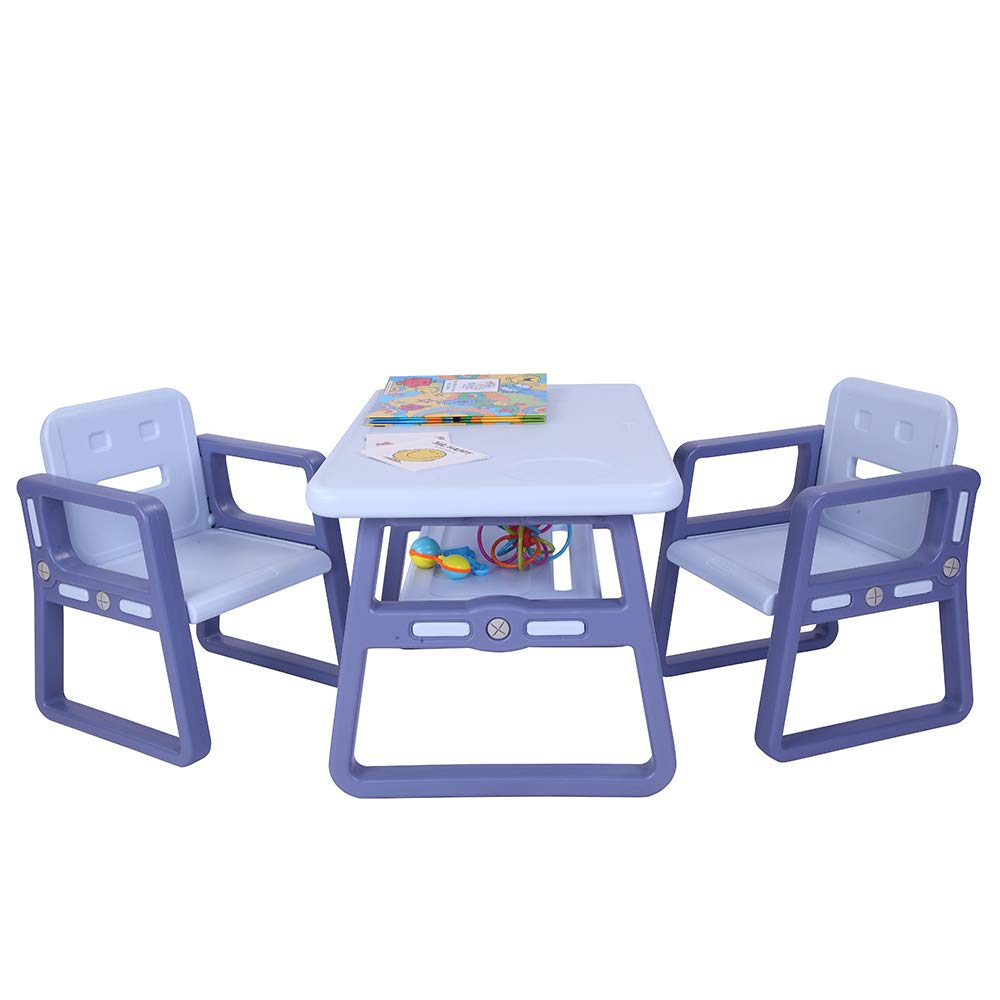 JOYMOR Multipurpose Kids Table and Chair Set, Certified Safe and Easy-Clean 3-Piece Kids Furniture Set, Includes 1 Activity Table with Storage Space & 2 Chairs,Kiddie-Sized Plastic Furniture (Blue) by JOYMOR