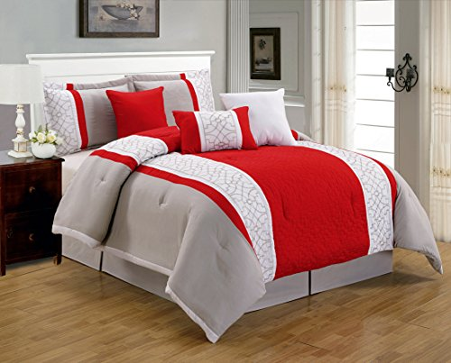 7 Pieces Luxury Red, Beige And White Quilted Comforter Set
